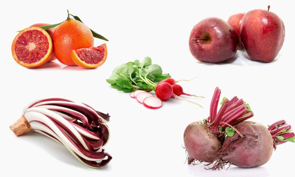 verdura e frutta rossa