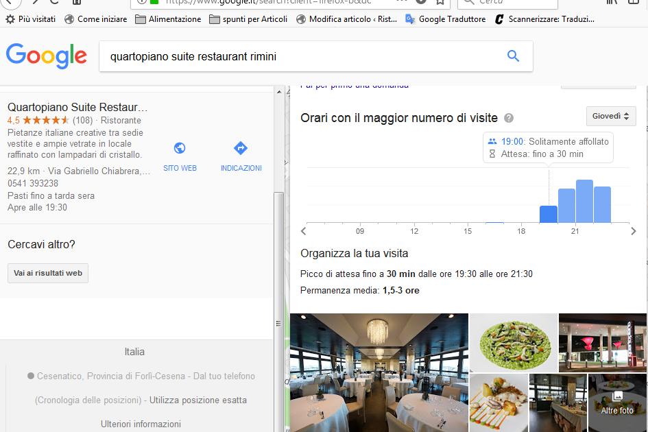 Tempi di attesa nei Ristoranti stimati da Google