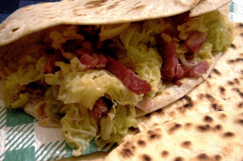 Piadina, pancetta e verza