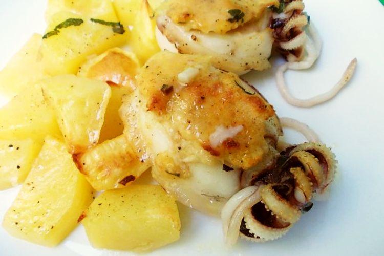 Seppia ripiena al forno con patate