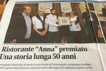 Ristorante Anna Forlimpopoli premiata 2018