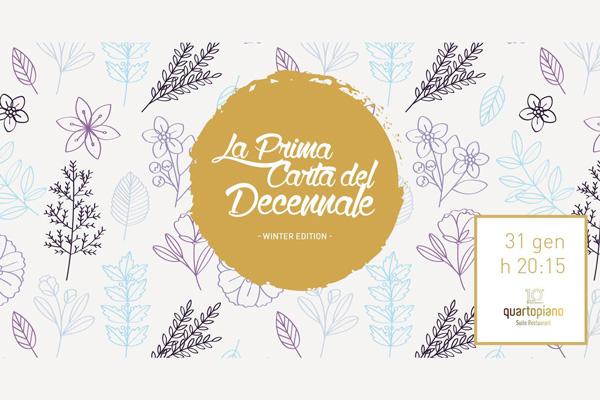 La prima carta del decennale - Quartopiano Suite Restaurant di Rimini