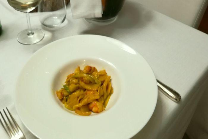 Strozzaprete con variazione di zucchine e mazzancolle - I Tre Re - Poggio Torriana