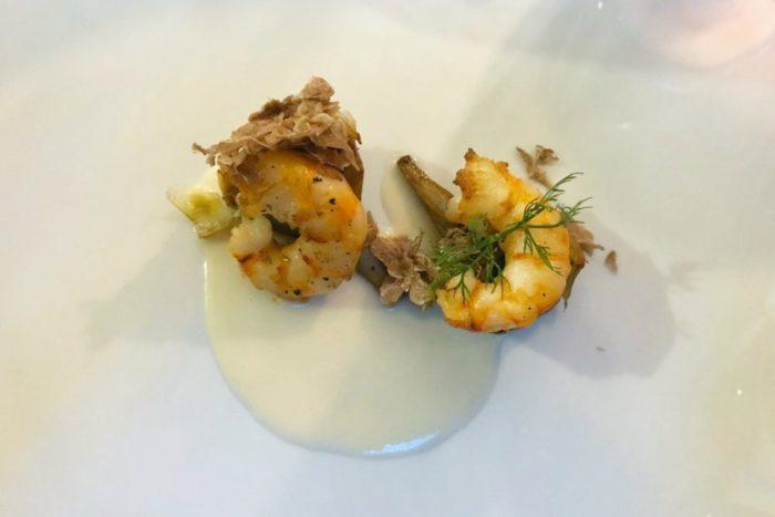 Mazzancolle e carciofo su crema di parmigiano affumicato e scaglie di Tartufo - Ristorante Kolibrì - Savarna (RA)