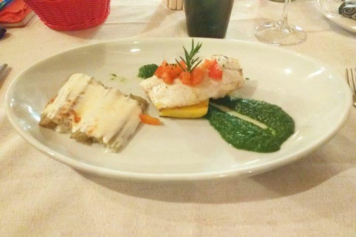Filetto di Branzino su Polenta grigliata, purea di Bietole e Cardi gratinati - Osteria Il Cantinone - Cervia