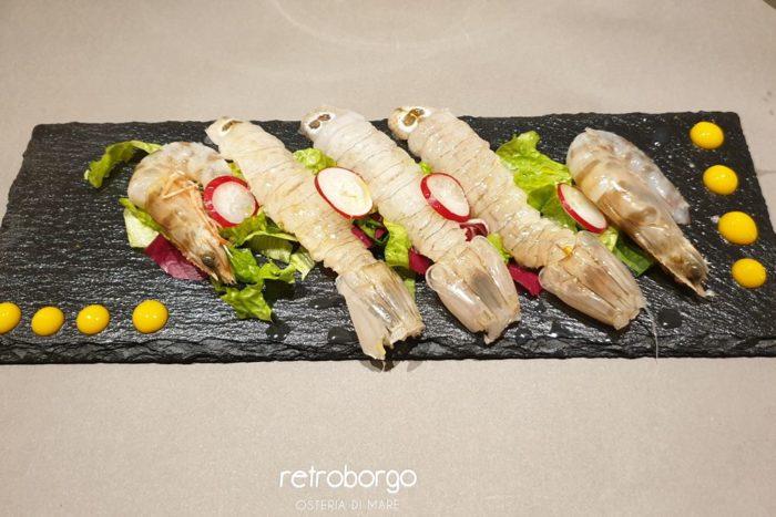 Piatto di crudo con canocchie e mazzancolle - Osteria di Mare Retroborgo - Rimini - Borgo San Guliano