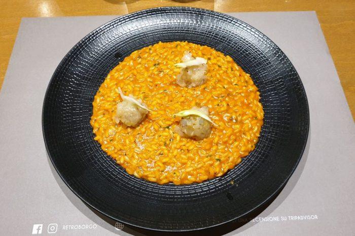 Risotto con bisque di canocchie e tartàre di mazzancolle - Osteria di Mare Retroborgo - Rimini - Borgo San Guliano