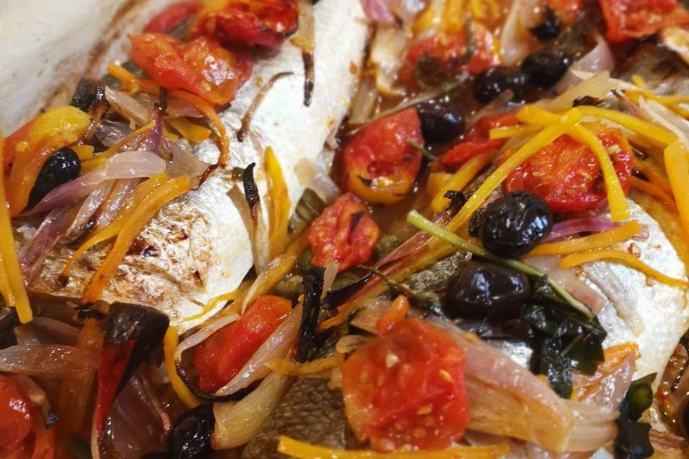 Branzino al forno alla Mediterranea - Chef Silver Succi