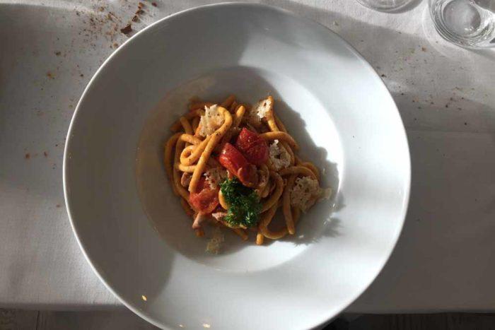 """Passatelli asciutti all'amatriciana di tonno"""" San Demetrio Restaurant di Cesena"""